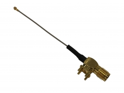 Mini RF Cable Assembly, Micro Coaxial Cable, U.FL to Ø0.8 55mm Coaxial Cable to RA SMA F P.C.B