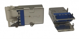 USB 3.0/3.1 A/F 9 PIN SMT TOP 1.27mm DUBLE SHELL-DIP PEG RECEPTACLE